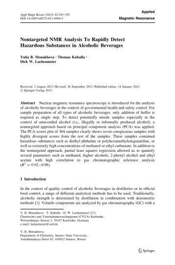 Nontargeted NMR Analysis To Rapidly Detect Hazardous ...