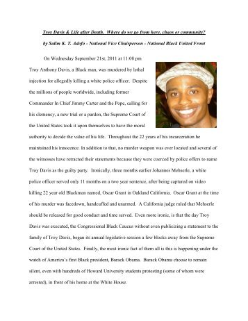 Troy Davis & Life after Death. Where do we go from here, chaos or ...