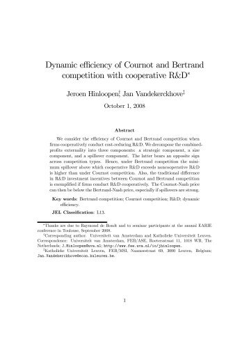 Dynamic efficiency of Cournot and Bertrand competition with ...