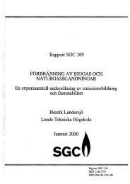 Rapport SGC l 09 FÖRBRÄNNING A V BIOGAS OCH ...