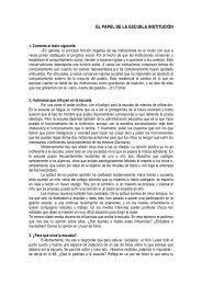 EL PAPEL DE LA ESCUELA INSTITUCIÓN