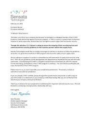 C-TPAT Supplier Questionnaire - Sensata