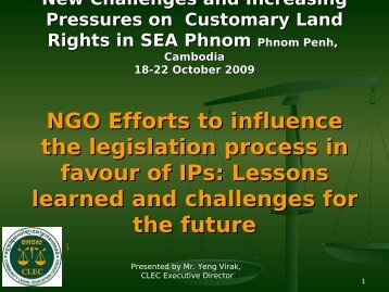 NGO Efforts to influence the legislation process in favour of IPs ...