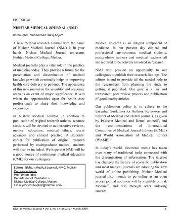 EDITORIAL revised - 1.pdf - Nishtar Medical Journal