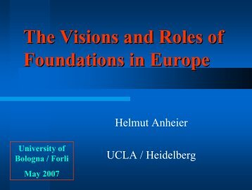 The Visions and Roles of Foundations in Europe - Aiccon