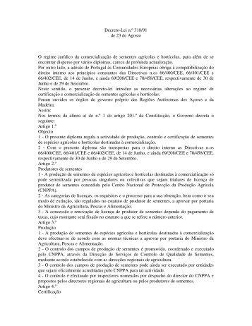 Decreto-Lei n.º 318/91 de 23 de Agosto O regime jurídico da ...