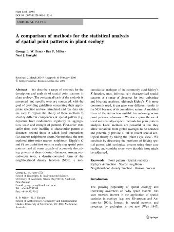 A comparison of methods for the statistical analysis of spatial point ...