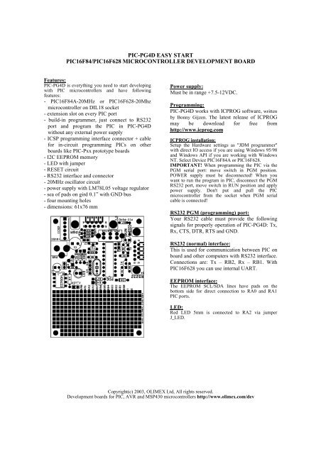 pic-pg4d easy start pic16f84/pic16f628 microcontroller     - Olimex