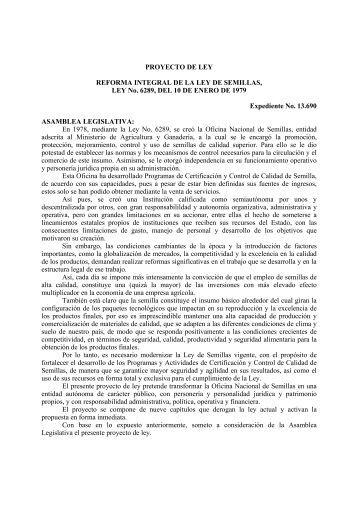 PROYECTO DE LEY REFORMA INTEGRAL DE LA LEY DE ...