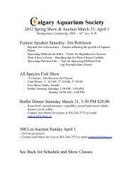 2012 Spring Show & Auction March 31 - Calgary Aquarium Society