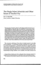 The Single Salary Schedule and Other Issues of Teacher Pay