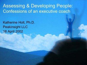 Assessing & Developing People: - Peakinsight