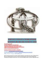 service toyota worldwide session de recrutement 2010