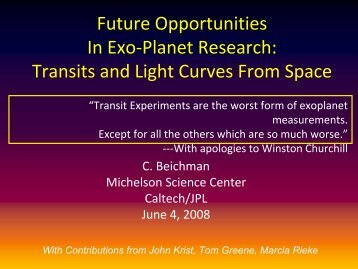 Future Opportunities In Exo-Planet Research: Transits and Light ...
