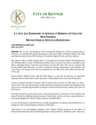 lt.gov.jay dardenne to appear at ribbon-cutting ... - the City of Kenner