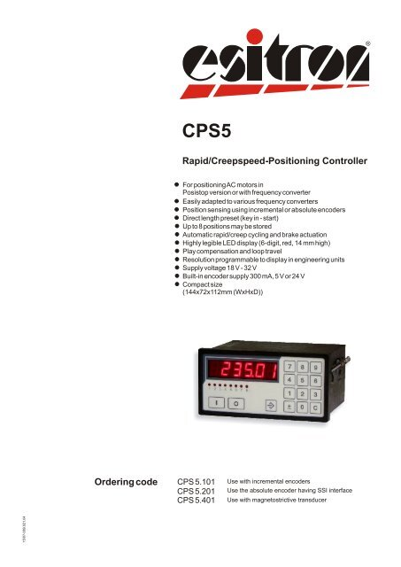Ordering code Rapid/Creepspeed-Positioning Controller - esitron