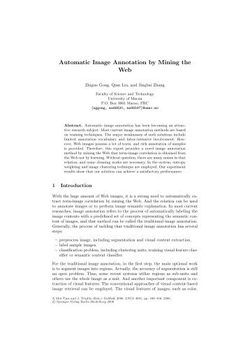 Automatic Image Annotation by Mining the Web - Department of ...