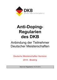 Anti-Doping- Regularien des DKB - Deutsche Bowling Union