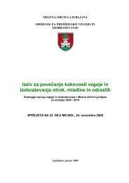 Strategija razvoja vzgoje in izobraževanja v Mestni občini Ljubljana ...