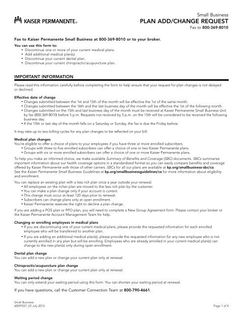 2013 Plan Change Form - Kaiser Permanente Group Health ...