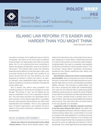Islamic Law Reform - Institute for Social Policy and Understanding
