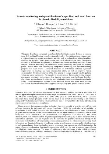 Remote monitoring and quantification of upper limb and ... - ICDVRAT