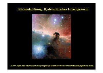 Sternentstehung: Hydrostatisches Gleichgewicht