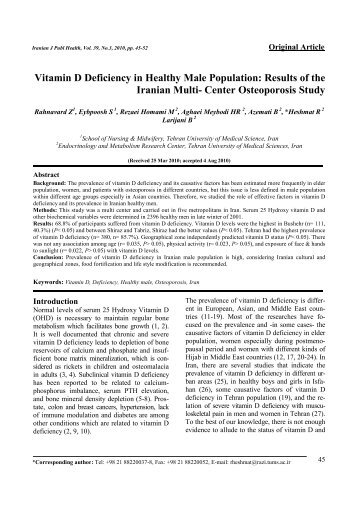 Vitamin D Deficiency in Healthy Male Population: Results of the ...