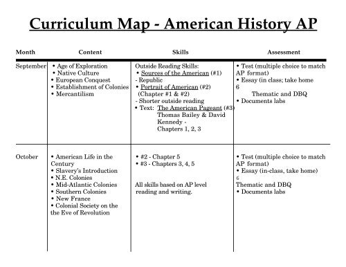 Us History Curriculum Map Curriculum Map   American History AP