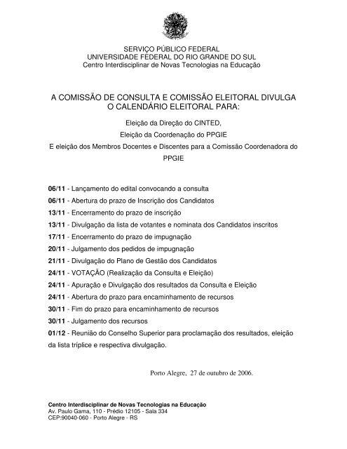Calendario Eleitoral 2006 - cinted/ufrgs