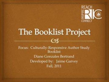 Bertrand, Diane Gonzales Author Study Booklist by Jaime ... - RITELL