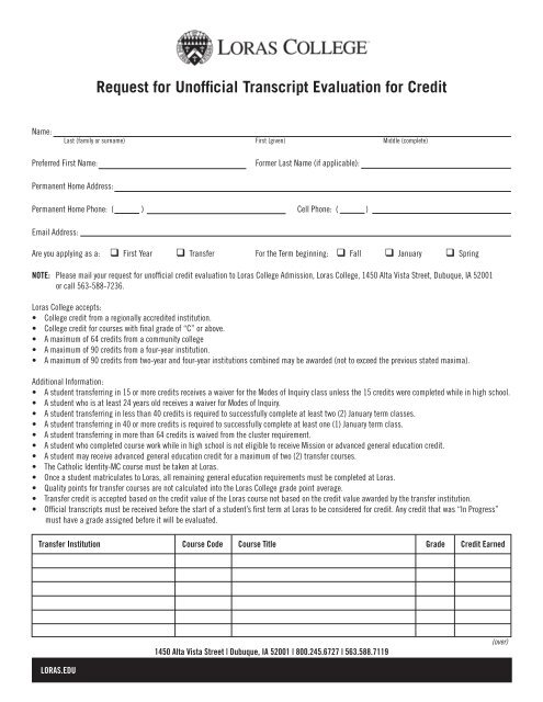 Request for Unofficial Transcript Evaluation for Credit