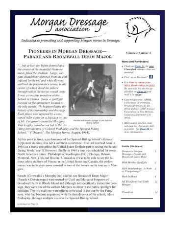 October 2012 Newsletter - Morgan Dressage Association