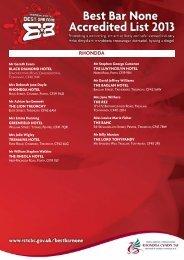 Best Bar One Accreditied Premises 2013 - Rhondda Cynon Taf