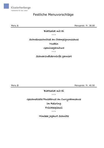 2012-13.Festliche Menuvorschläge - Kloster Baldegg