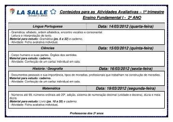 conteúdos para atividades avaliativas - La Salle