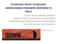 Influences on Pricing Strategy - National Arts Marketing Project