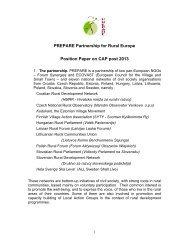 PREPARE Position Paper on CAP post 2013