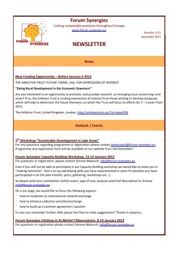 NEWSLETTER - Forum Synergies