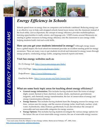 Energy Efficiency in Schools - Clean Energy Resource Teams