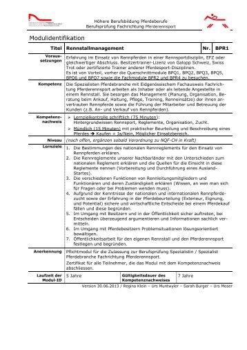 Module Fachrichtung Pferderennsport - Organisation der Arbeitswelt ...