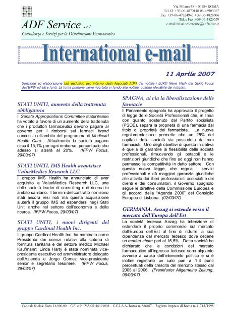 Aprile 2007 - Gruppo Comifar