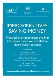 improving lives, saving money - Westminster City Council