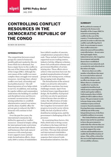 a study of the conflict in the democratic republic of congo