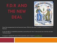 F.D.R AND THE NEW DEAL - Database of K-12 Resources