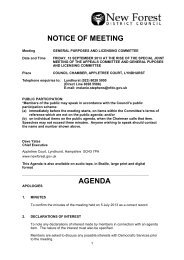 NOTICE OF MEETING AGENDA - New Forest District Council