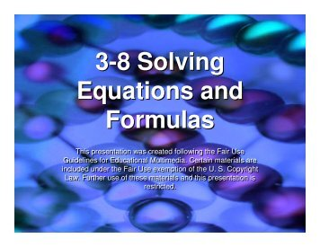 3-8 Solving Equations and Formulas - Mona Shores Blogs