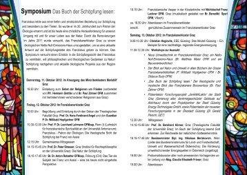 Symposium Das Buch der Schöpfung lesen: - OFM