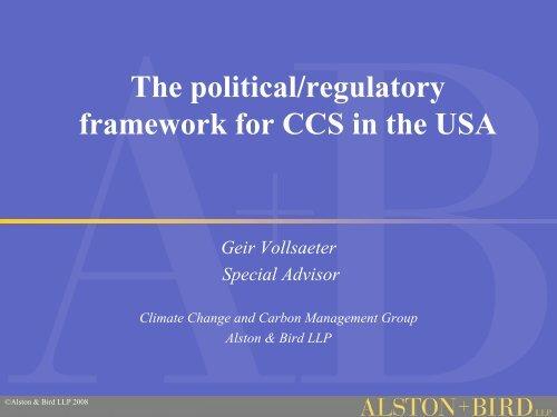 The political/regulatory framework for CCS in the USA - Zero