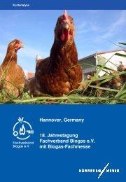 Hannover, Germany 18. Jahrestagung Fachverband Biogas e.V. mit ...